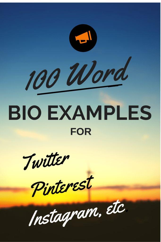 100 Word Bio Examples – BioTemplates.com
