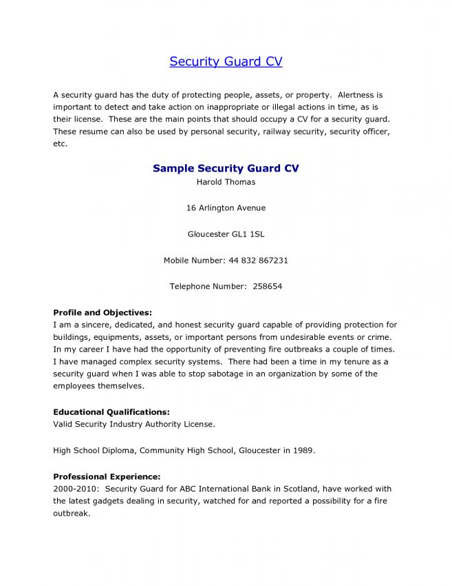 10 Photo Sample Security Guard Resume No Experience Resume unarmed ...