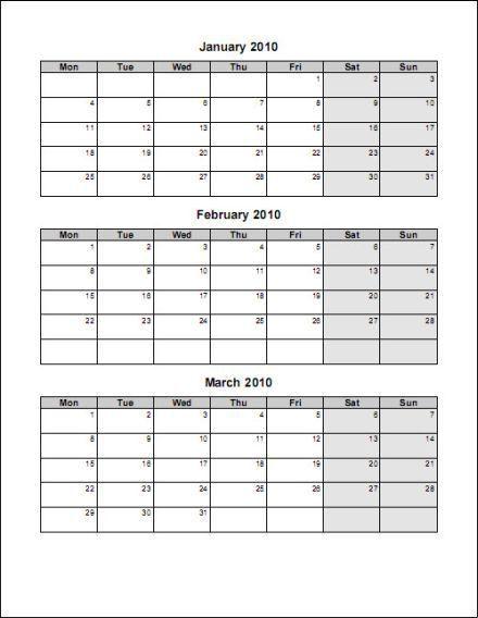 Free 3 Month Editable Calendar Template | Blank Calendar Design 2017