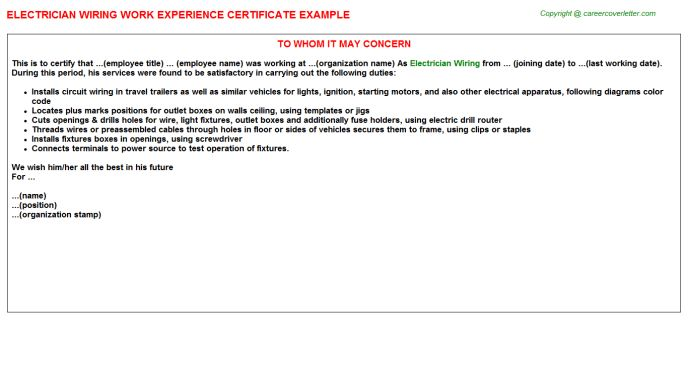 Electrician Wiring Work Experience Letters