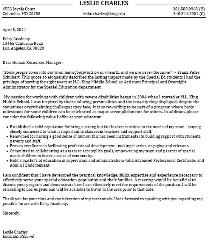 Education 2 Cover Letter Sample