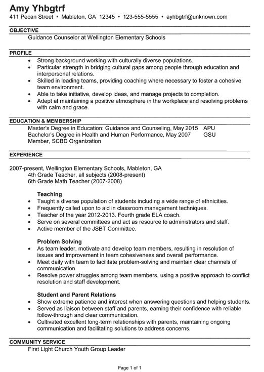 Sample School Counselor Resume | Free Resumes Tips