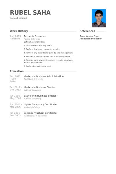 resume format for accounts executive accounts executive resume