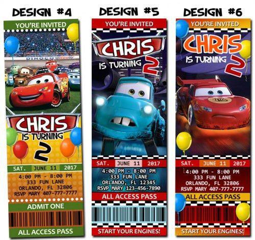Cars Pixar Birthday Party Ticket Invitations Custom - Printable ...