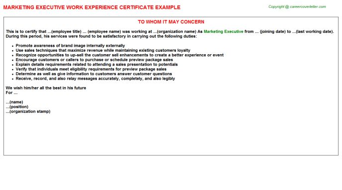 Marketing Executive Work Experience Certificate