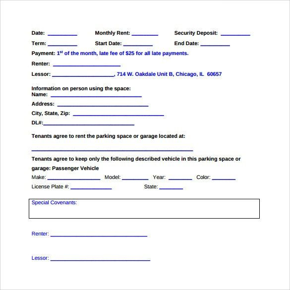Parking Lease Agreement Templates - 6+ Samples , Examples & Format