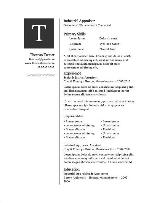 Download Word Resume Template. Free Resume Template Microsoft Word ...
