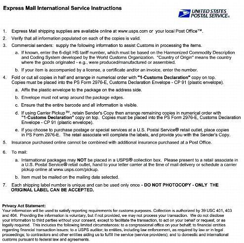 Sample Express Mail International Shipping Label With Customs Form
