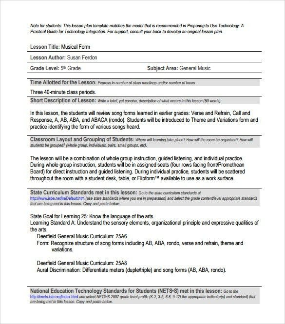 Sample Music Lesson Plan - 7+ Documents In PDF, PSD