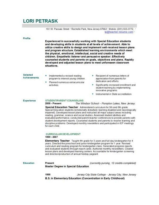 education resume templates best 25 teacher resume template ideas ...