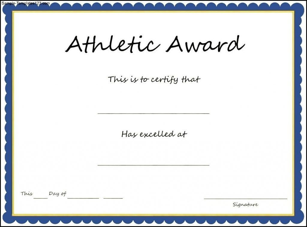Sports Award Certificate Template Sample Templates Athletic ...