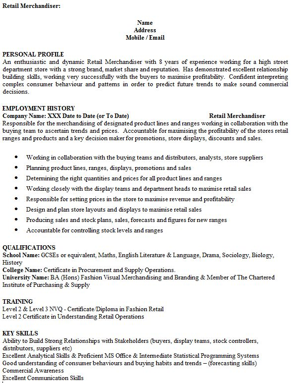 visual merchandiser cv rnei assistant merchandiser cv sample 15 ...