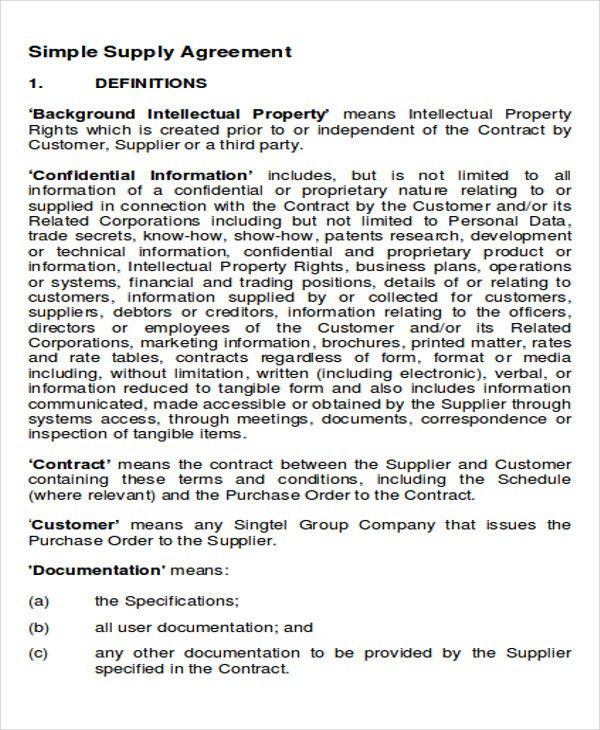 Supply Agreement Contract Sample - 9+ Examples in Word, PDF