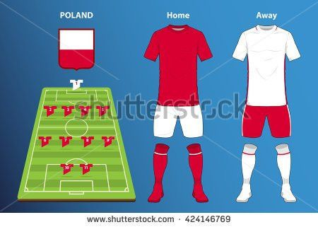 Poland Football Kit Soccer Jersey Template Stock Vector 424146769 ...