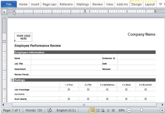 Employee Performance Review Form for Word