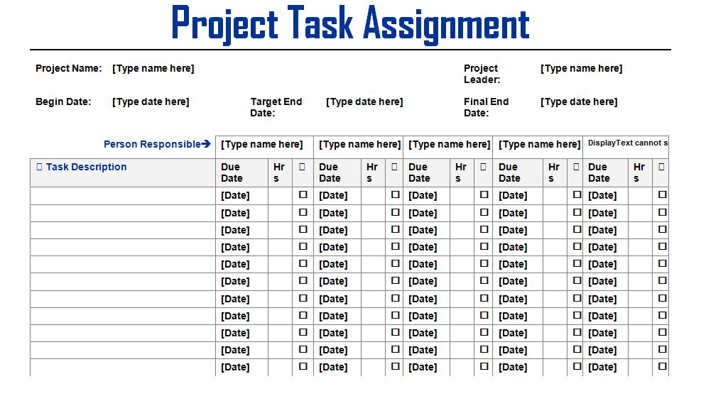 Project Task Assignment Word Template - Microsoft Project ...