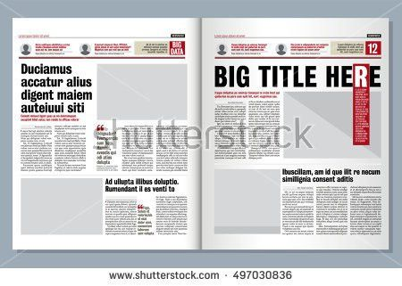 Graphical Layout Modern Green Newspaper Template Stock Vector ...