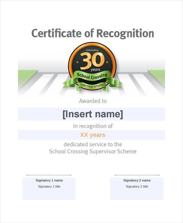 19+ Certificate of Recognition Templates - Free Sample, Example ...