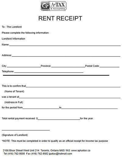 Rental Payment Receipt - OneStopForm