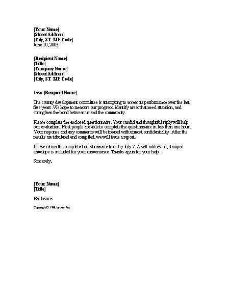 survey cover letter template | Docoments Ojazlink