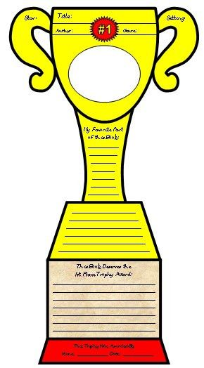 Favorite Book Report Trophy Project: templates, worksheets, rubric ...