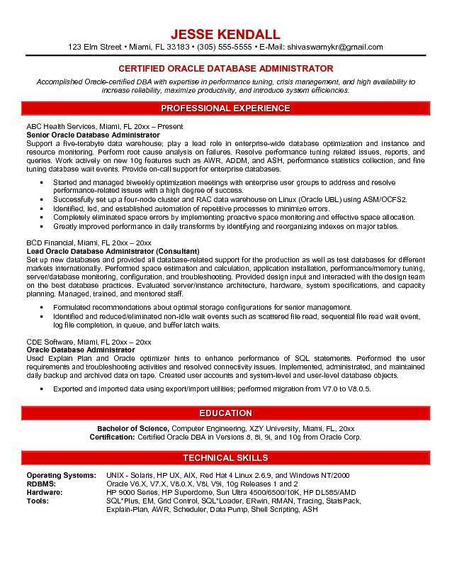 Database Engineer Sample Resume 10 Oracle Database Administrator ...