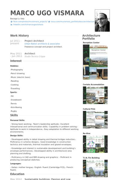 Project Architect Resume samples - VisualCV resume samples database
