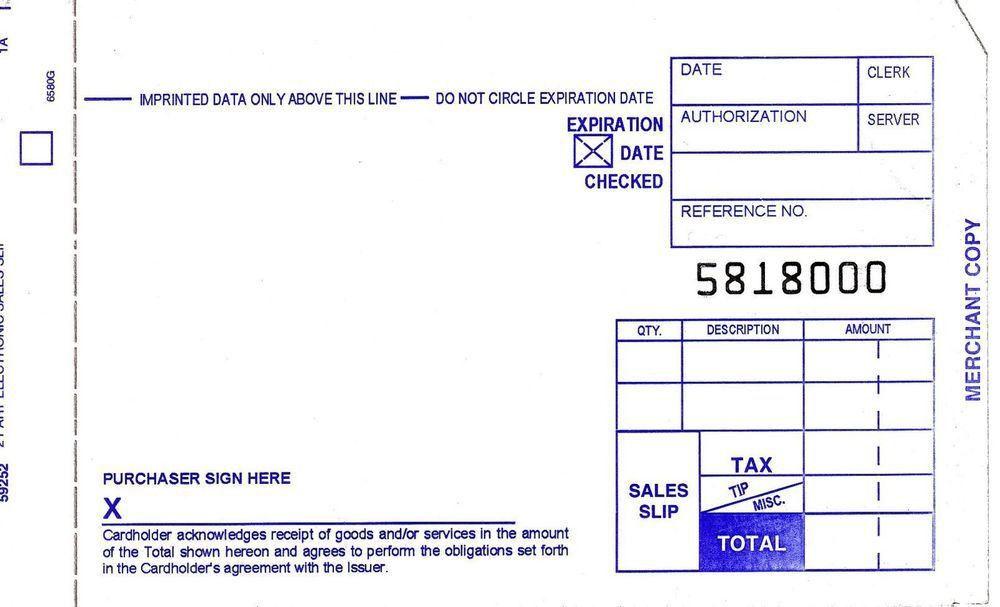 500 SHORT 2 PART Credit Card Manual Imprinter Sales Slip Credit ...