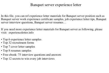 server resume example server resume examples server sample resume - Banquet Server Cover Letter