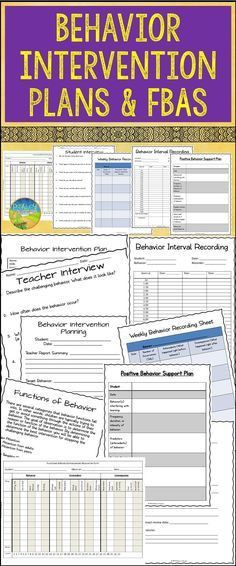 Behavior Intervention Plan Editable Forms and Data Sheets   Data ...