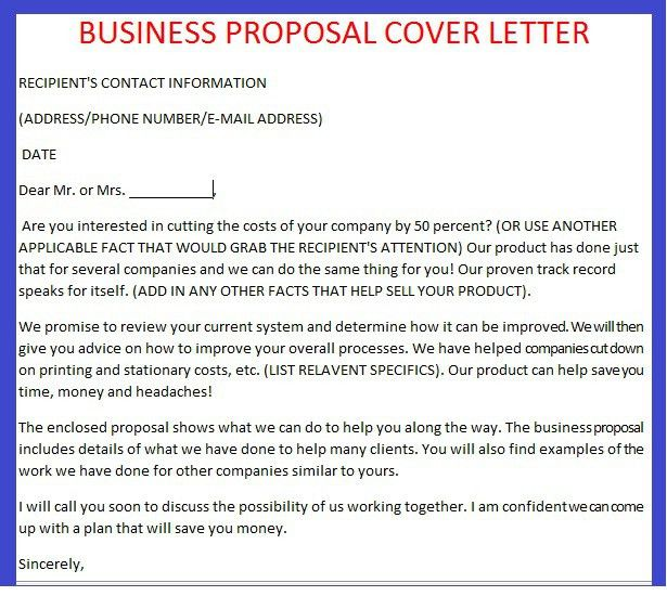 Business Proposal Cover Letter - My Document Blog
