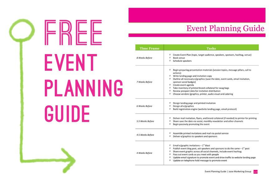 Free Event Planning Template via Juice Marketing Group | Event ...