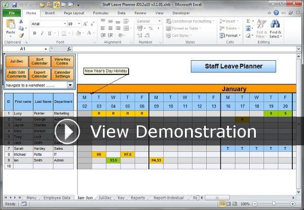The Staff Leave Calendar. A simple Excel planner to manage staff ...