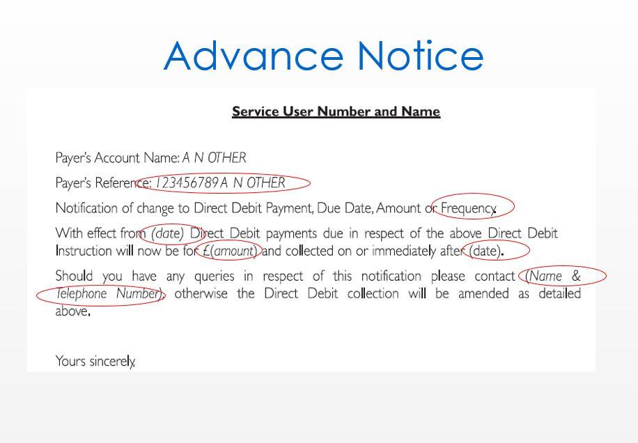 Clear Direct Debit – Advance Notice