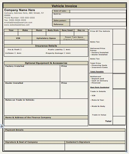 Vehicle Sales Invoice Template | free to do list