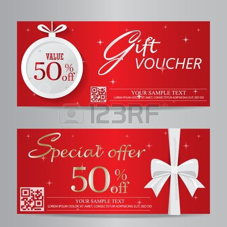 Red Christmas And New Year Gift Voucher Certificate Coupon ...