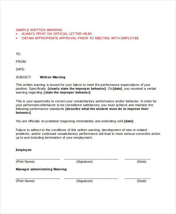 Warning Letter Template - 10+ Free Word, PDF Document Downloads ...