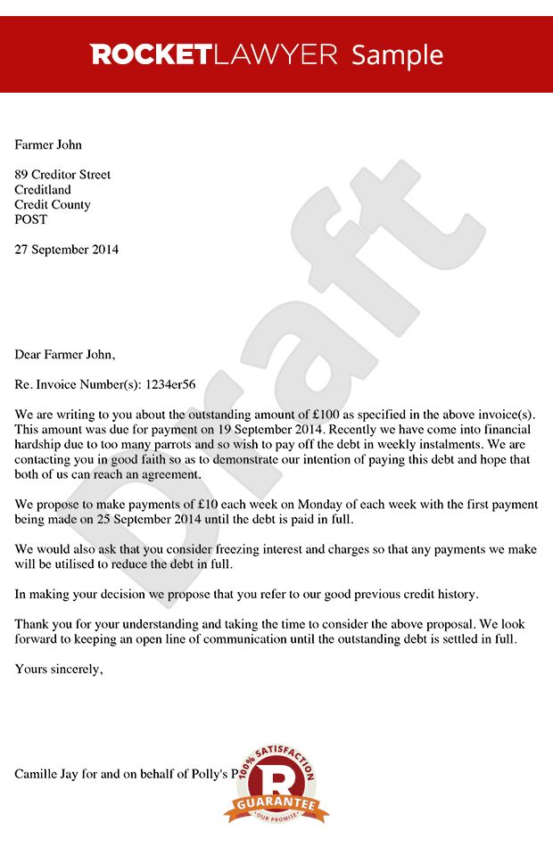 Proposing for Payment in Instalments - Payment Plan Template Letter