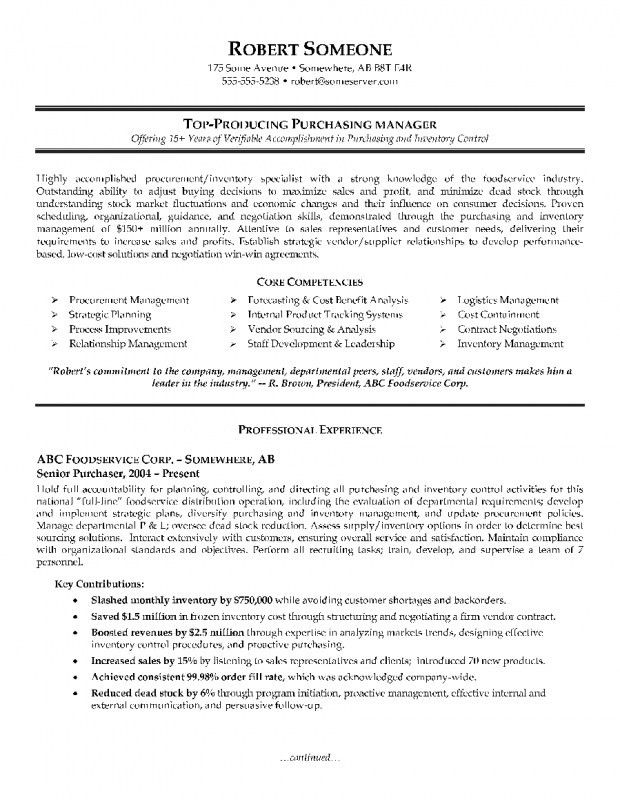 Resume Format For Purchase Manager | Samples Of Resumes