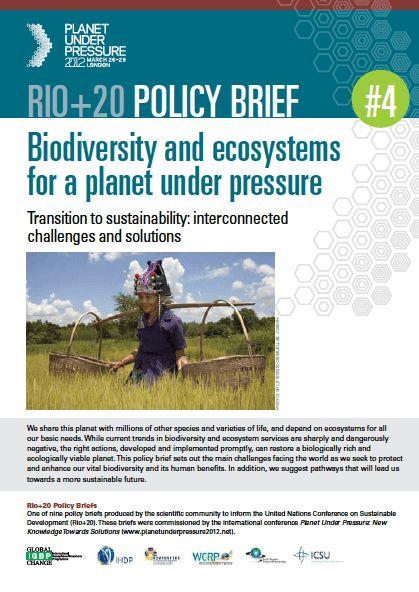 Planet Under Pressure Policy Brief Addresses Challenges to ...