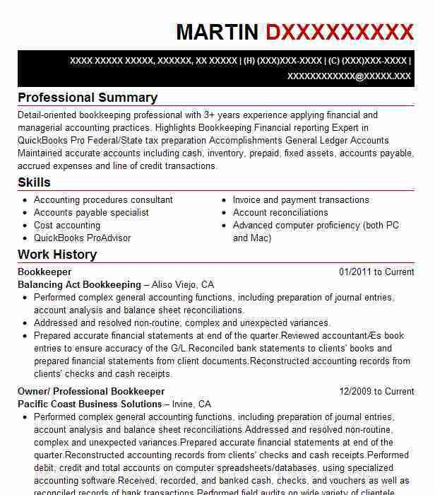 Download Bookkeeper Resume | haadyaooverbayresort.com