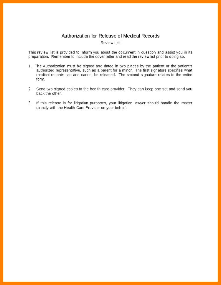 release medical records letter - Template