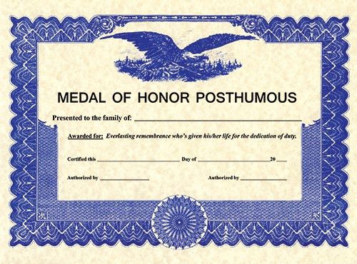 Somes - POSTHUMOUS CERTIFICATE