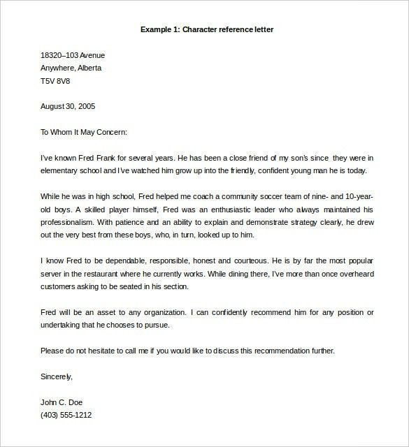 Personal Letter Of Reference Format Sample Professional Letter