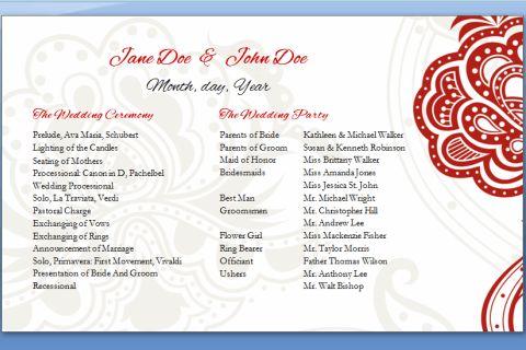 Half Page Wedding Program Template – Wedding Programs Templates