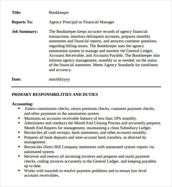 full charge book keeper job description sample pdf free download ...
