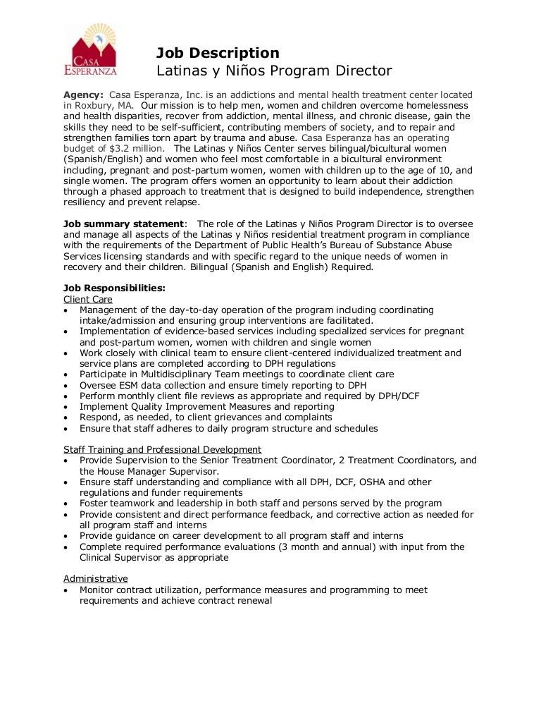 Program Director Job Description. Director Of Nursing Job ...