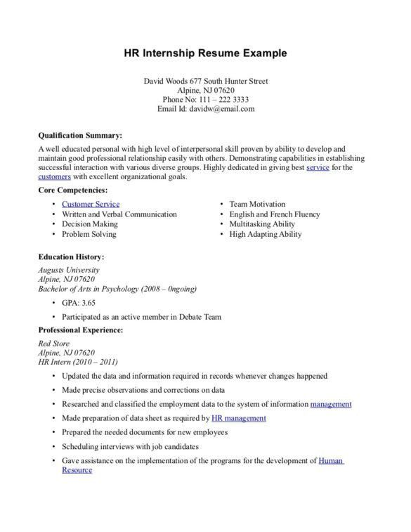 Excellent HR Internship Resume Sample with Professional Experience ...