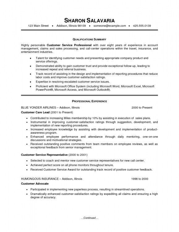 Summary Statement For Resume Customer Service | Resume Template ...