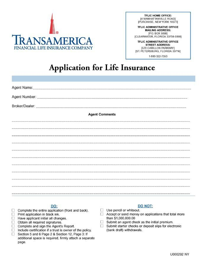 Application for Flexible Premium Variable Life Insurance Policy